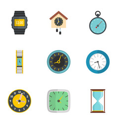 Wall clock icons set flat style vector