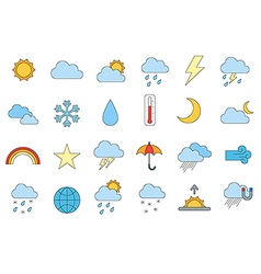 Weather forecast colorful icons set vector image