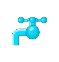 Water tap with knob icon cartoon style vector