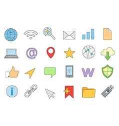 Web connection colorful icons set vector