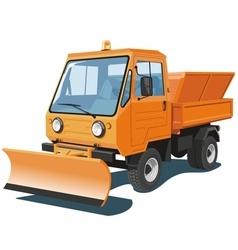 Orange snowplow truck vector