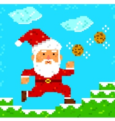 Pixel art santa clause vector