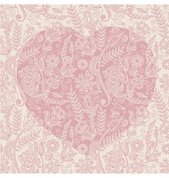 Hand draw ornate heart shape background vector