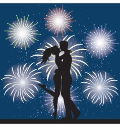 Lover and fireworks vector