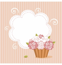 Background with birthday cupcake vector image