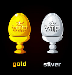 easter golden and silver vip egg in a stand vector image
