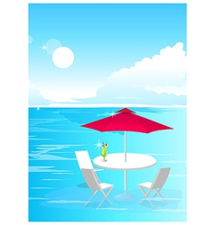 Beach umbrella and chairs vector