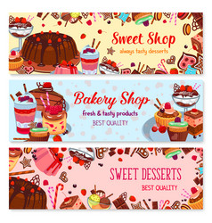 bakery and sweet shop ice cream cafe banner set vector image