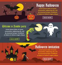 happy halloween banner horizonatal set flat style vector image