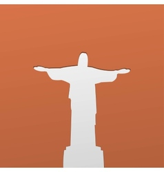 Silhouette of a statue to jesus christ in rio de vector