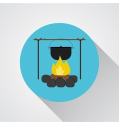 Campsite bonfire with a camping pot - icon vector