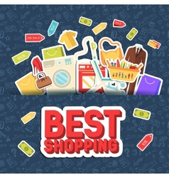 Many object purchased in the shop shopping vector