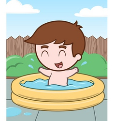 Little boy in a pool vector