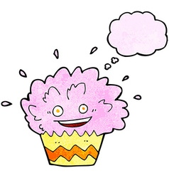 Cartoon exploding cupcake with thought bubble vector