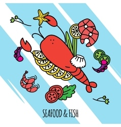 Seafood concept vector