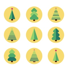 Flat design christmas tree set vector