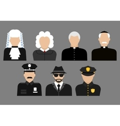 Policemen judges priests and detective avatars vector