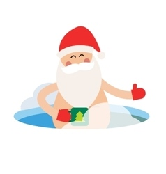Cartoon extreme Santa ice-hole winter sport vector image