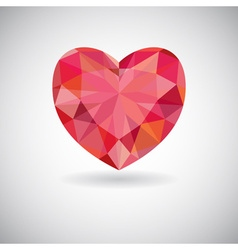 Red geometric heart icon vector