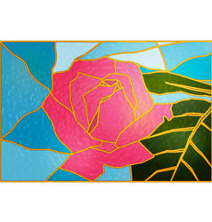 Rose-flower-stained glass vector