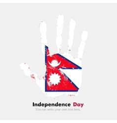 Handprint with the flag of nepal in grunge style vector