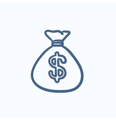 Money bag sketch icon vector