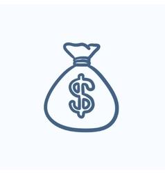 Money bag sketch icon vector image