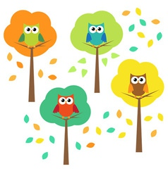 Autumn trees and owls vector image