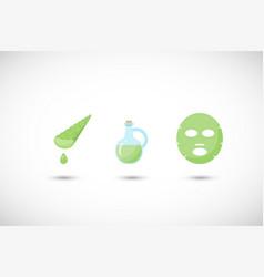 Aloe vera facial mask flat icons set vector