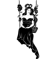 Beautiful girl on swing black stencil vector image