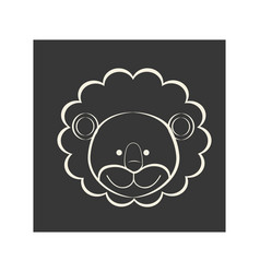 Black square picture of lion animal vector