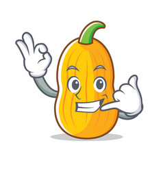Call me butternut squash mascot cartoon vector