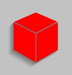 cube sign red icon with soft vector image
