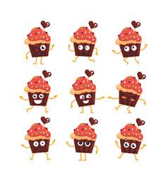 Cupcake - set of mascot vector