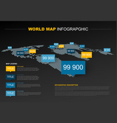Dark world map infographic template vector