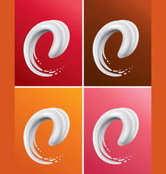 different color milk splash creating tongue vector image