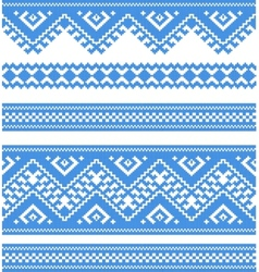 Embroidered good like handmade cross-stitch ethnic vector