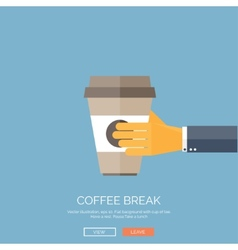 Flat background with hand and vector image