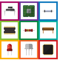 Flat icon appliance set of cpu recipient resist vector