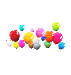 group of colour glossy helium balloons isolated on vector image vector image
