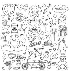 Hand drawn Love set vector image