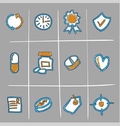 hand drawn medical icons vector image vector image
