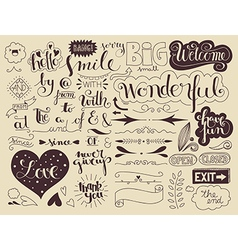 Handlettering elements and words vector