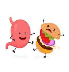 happy smile strong stomach kick burger vector image