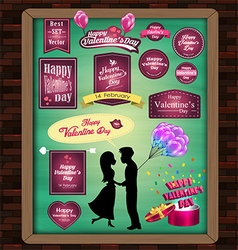 Happy valentine day elements mega set signs label vector
