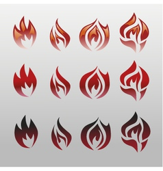 Icons flames fire vector image