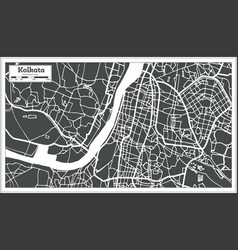 Kolkata india city map in retro style outline map vector