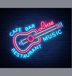 live music neon sign poster emblem for vector image