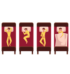 Man sleeping in bed lying on back side top view vector