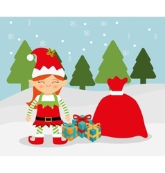 Merry christmas colorful card vector image